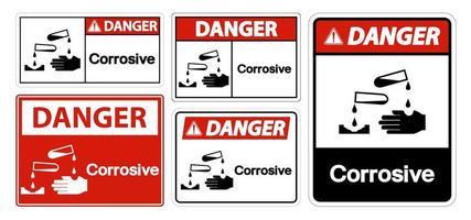 segno simbolo corrosivo vettore