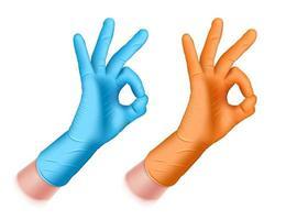 mano segno ok guanto di gomma blu e arancione vettore