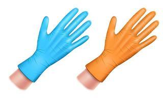 set di guanti in gomma blu e arancione vettore