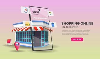 lo shopping online con il concetto di smartphone vettore