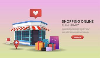 concetto di servizio di consegna online con negozio al dettaglio vettore