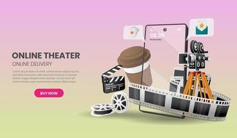 concetto di servizio di cinema online vettore