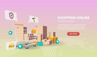 concetto di servizio di consegna online vettore