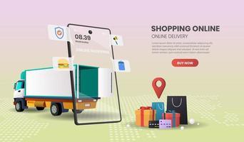concetto di consegna del camion di ordinazione online del pacchetto e dell'alimento vettore