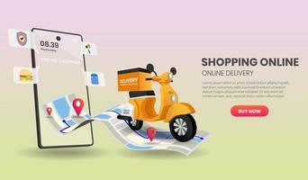 ordinazione e consegna di alimenti e pacchetti per smartphone vettore