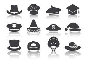 Vettore libero delle icone del cappello nero
