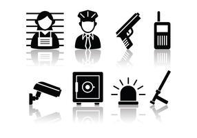 Set di icone di polizia e del crimine minimalista gratis vettore