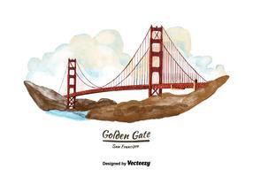 Vettore dell'acquerello di San Francisco Golden Gate Bridge