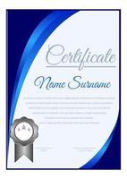 modello di certificato angolo curva blu sfumato