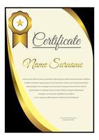 modello di certificato angolo curvo sfumato nero e giallo