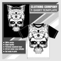 modello di t-shirt testa di teschio in bocca di lupo vettore