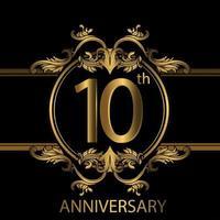Emblema di lusso dorato del decimo anniversario sul nero