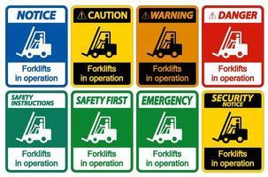 carrelli elevatori in funzione set di simboli vettore