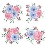 collezione di bouquet di fiori di peonia rosa dell'acquerello
