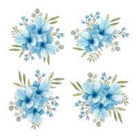 insieme di disposizione dell'acquerello anemone blu