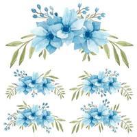 set di bouquet curvo anemone azzurro dell'acquerello