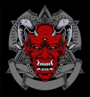 faccia di demone rosso con corna e tre occhi