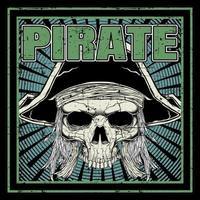 teschio pirata grunge nel telaio vettore