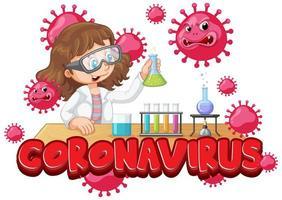 ragazza sperimentando il coronavirus in laboratorio vettore