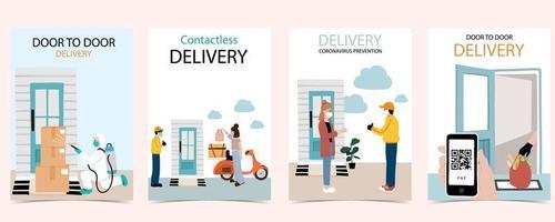 consegna online durante il set di poster di coronavirus