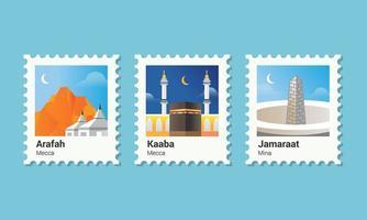 pellegrinaggio islamico francobollo vettore