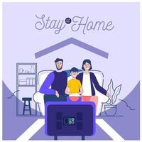 famiglia che preferisce stare a casa vettore
