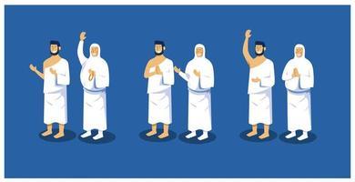 collezione di posa di personaggi per islamico vettore
