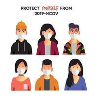 collezione di maschere da indossare per il viso dei giovani vettore