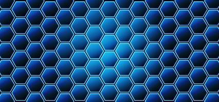 concetti di tecnologia o scienza sfondo blu esagono vettore