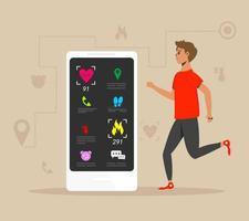 braccialetto fitness e atleta con app mobile vettore