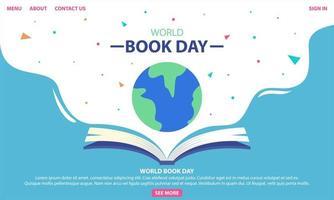 design della giornata mondiale del libro con libro e globo vettore