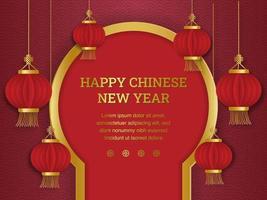 lanterne cinesi di stile del taglio della carta davanti alla porta