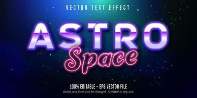 spazio astro viola e rosa effetto testo stile neon
