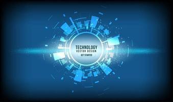 cerchio di tecnologia incandescente astratta sul gradiente blu