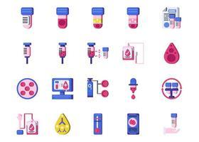 set di icone piatto laboratorio medico vettore