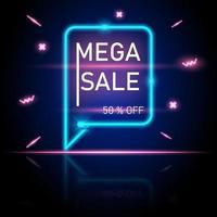 banner incandescente al neon di promozione di vendita mega