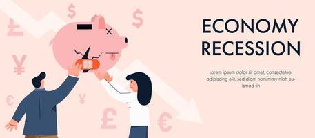 recessione economica con persone che riparano il salvadanaio