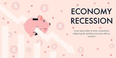 recessione economica con freccia in giù attraverso il salvadanaio