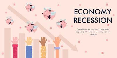 recessione economica con mani che raggiungono salvadanai