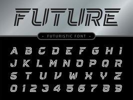carattere stilizzato techno futuro vettore