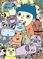 doodle di cartone animato di mostri colorati e alieni