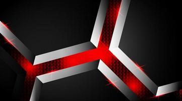 sfondo luminoso forma nera e rossa 3d vettore