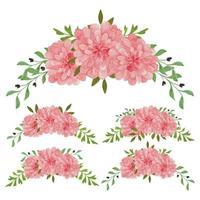 insieme dell'acquerello della disposizione floreale rosa d'annata
