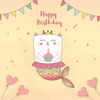 carta di buon compleanno sirena gatto vettore