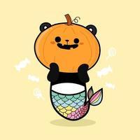 zucca di panda per halloween vettore