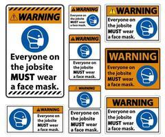 avvertimento indossare un set di segni di maschera facciale