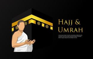 sfondo di hajj e umrah con pregare uomo su fondo nero