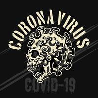 illustrazione emblema teschio coronavirus vettore