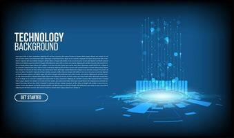 cerchio di tecnologia incandescente con motivo a linee e copia spazio