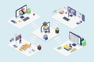 set di blockchain di tecnologia di educazione online isometrica vettore